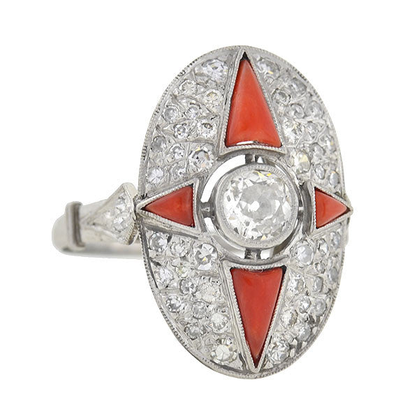 Art Deco Platinum Diamond & Coral Ring 1.00ctw