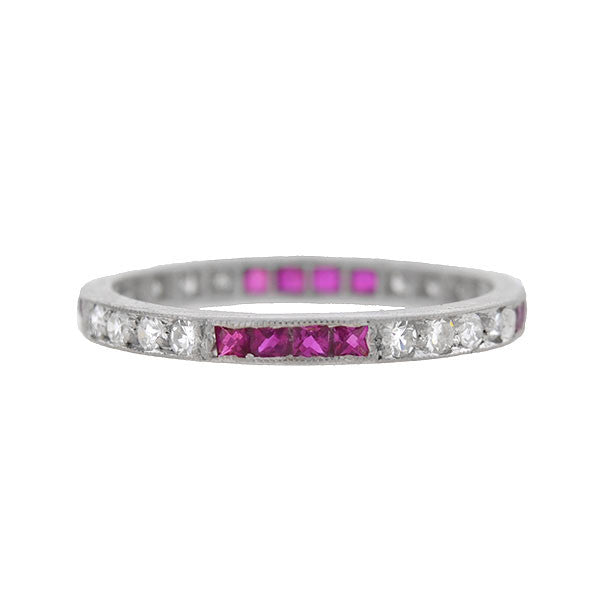 Art Deco Platinum Diamond & French Cut Ruby Eternity Band