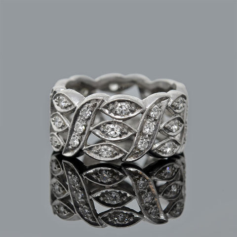 Late Art Deco Platinum Diamond Band Ring