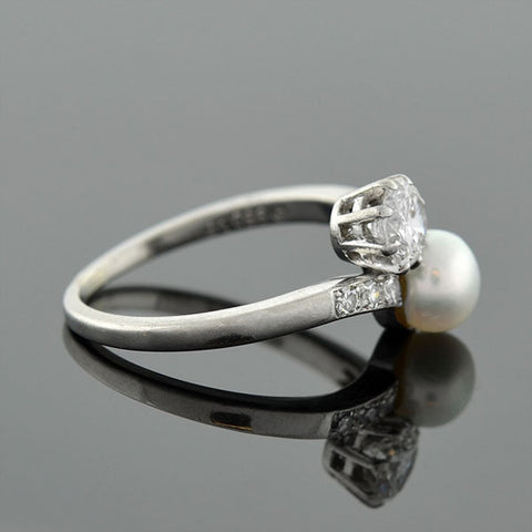 Edwardian Platinum Diamond & Cultured Pearl Ring