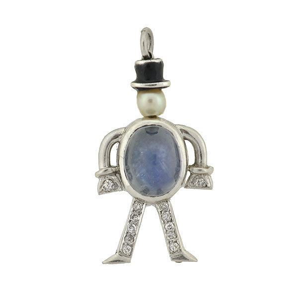 Art Deco Platinum Star Sapphire Diamond Man Charm