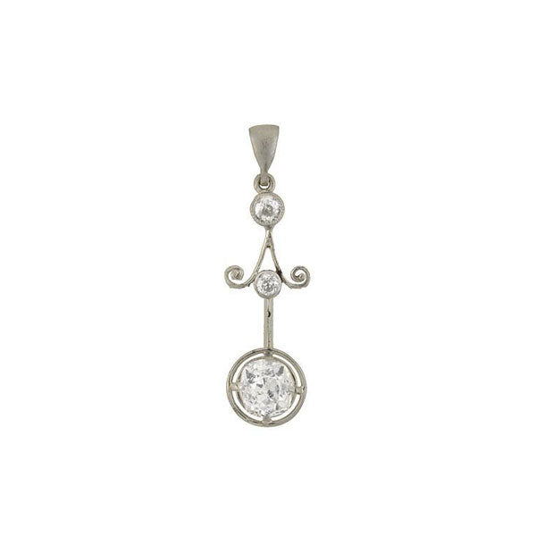 Art Deco Platinum 3-Stone Diamond Pendant 0.60ctw