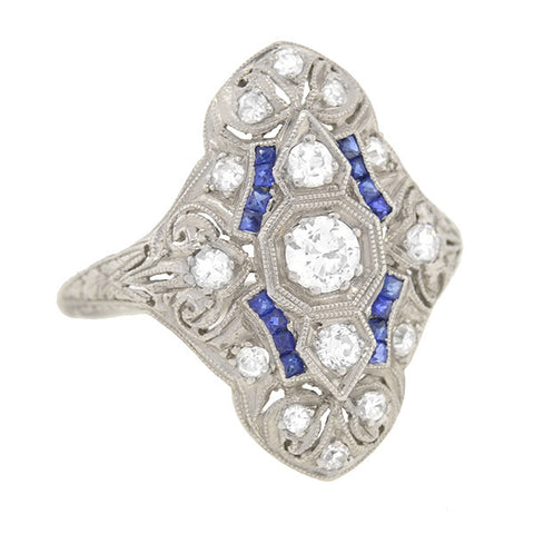 Art Deco Platinum Diamond & Sapphire Elongated Filigree Ring