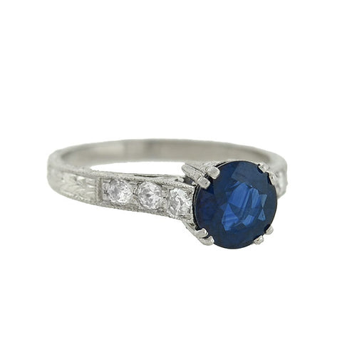 Art Deco Style Platinum Sapphire Diamond Ring 1.91ct