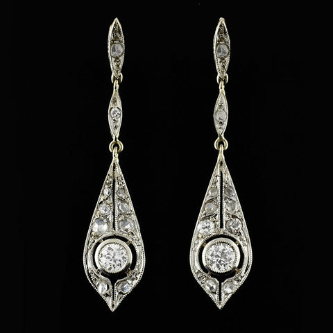 Edwardian Platinum Diamond Teardrop Earrings .50ctw