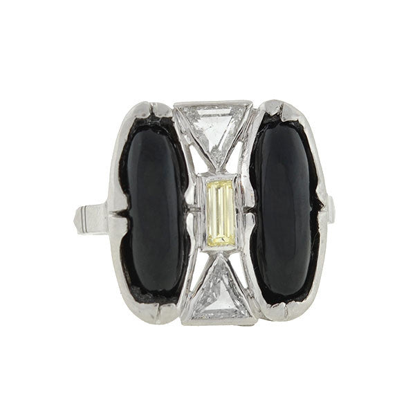 Art Deco Platinum Onyx & Diamond Geometric Ring