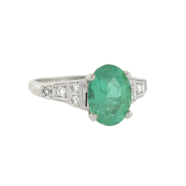 Art Deco Platinum Emerald & Diamond Ring 2.25ct