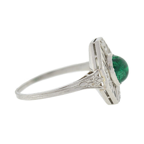 Art Deco Platinum Diamond & Emerald Filigree Ring .90ct