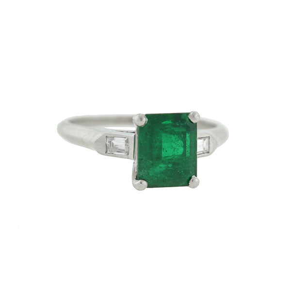 Estate Platinum Emerald & Diamond Ring 1.68ct center
