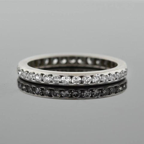 Art Deco Platinum Single Cut Diamond Eternity Band