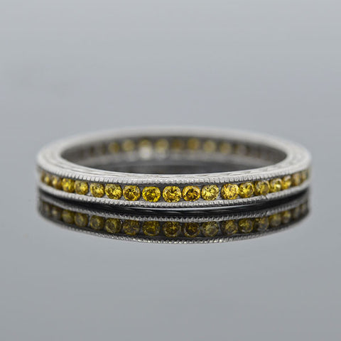 Estate Platinum Fancy Yellow Diamond Eternity Band