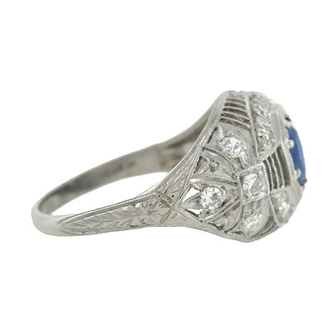 Art Deco Platinum Sapphire & Diamond Filigree Ring .91ct