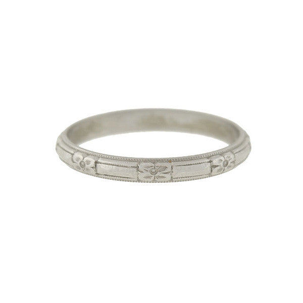 Art Deco Platinum Carved Eternity Band