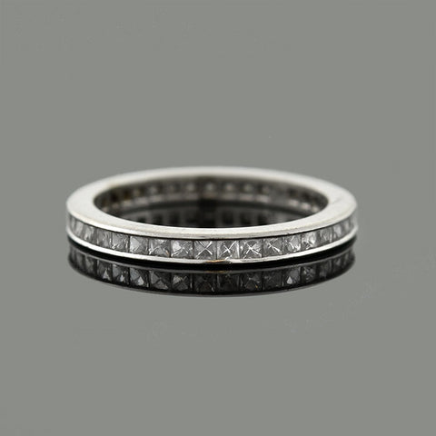 Late Art Deco Platinum French Cut Diamond Eternity Band 0.75ctw