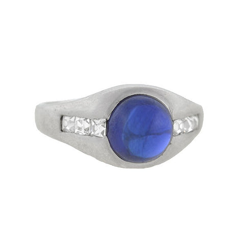 Edwardian Platinum French Cut Diamonds & Sapphire Ring 3ct.