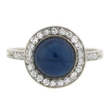 Edwardian Platinum Cabochon Sapphire & Diamond Ring 2.54ct
