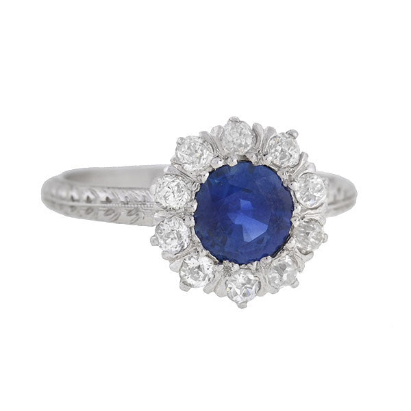 Edwardian Platinum Diamond & Sapphire Ring .88ct center