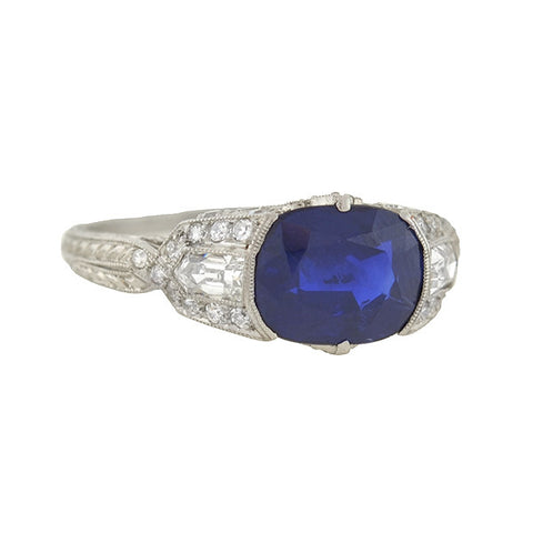 Art Deco Platinum Sapphire & Diamond Ring 2.50ct