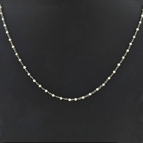 Edwardian Platinum & Natural Seed Pearl Chain Necklace 18""