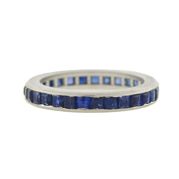 Retro Platinum Square Cut Sapphire Eternity Band