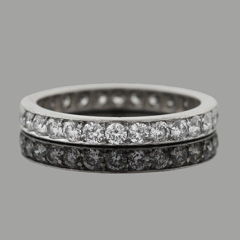 Early Retro Platinum Full Cut Diamond Eternity Band 1.30ctw