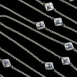 Art Deco Platinon + Square Crystal Link Chain Necklace 60