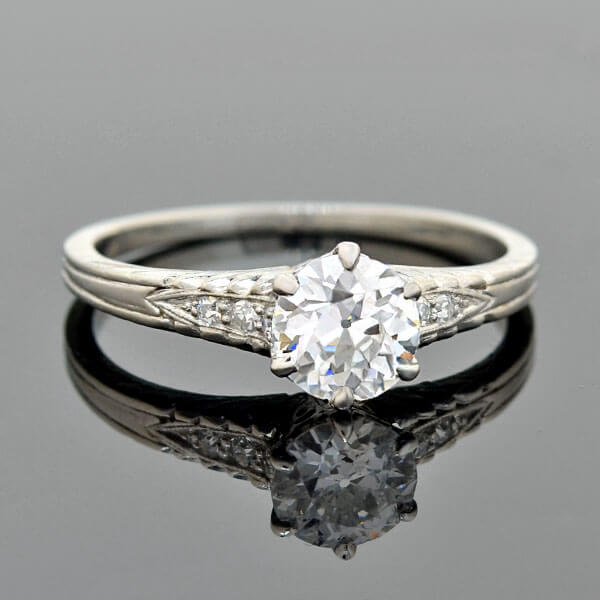 Art Deco Platinum Diamond Engagement Ring 0.73ct