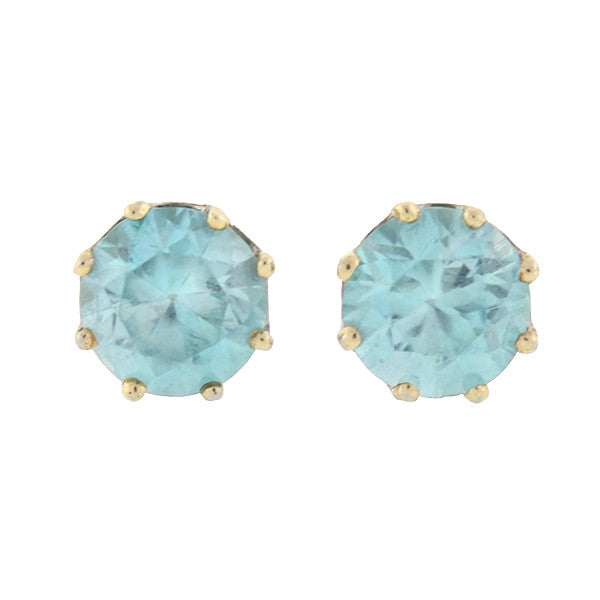 Retro Platinum & 14kt Blue Zircon Stud Earrings