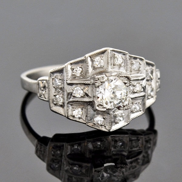 "Art Deco Platinum ""Multi-Step"" Diamond Ring 0.30ct"