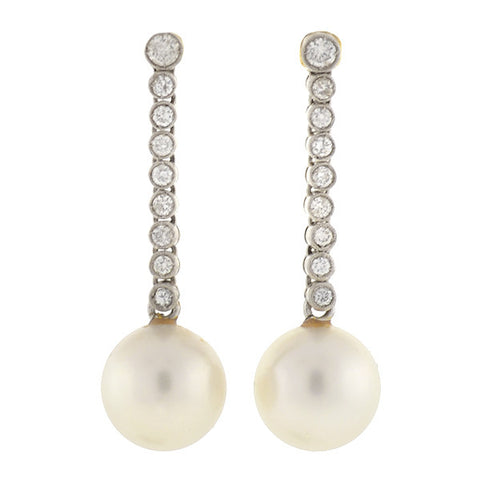 Art Deco Platinum 14kt South Sea Pearl & Diamond Earrings