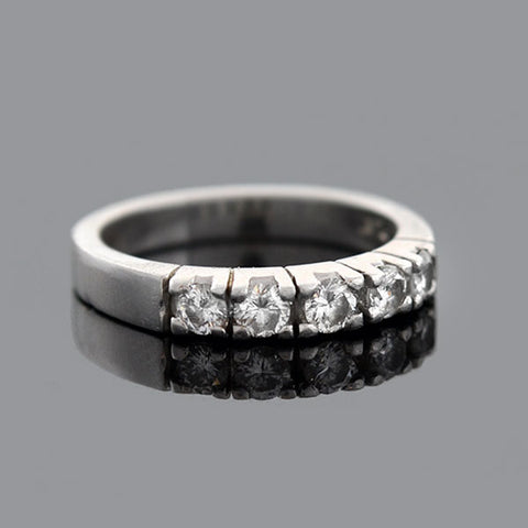 Vintage Platinum Diamond Half Band Ring 0.50ctw