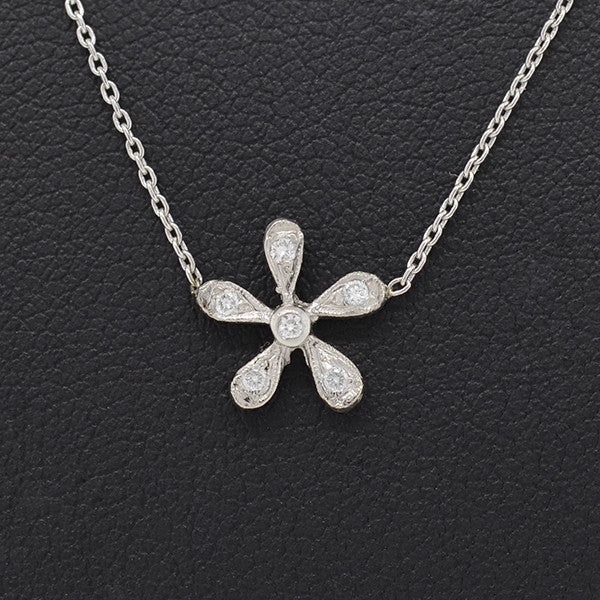Estate Platinum & Diamond Flower Pendant Necklace