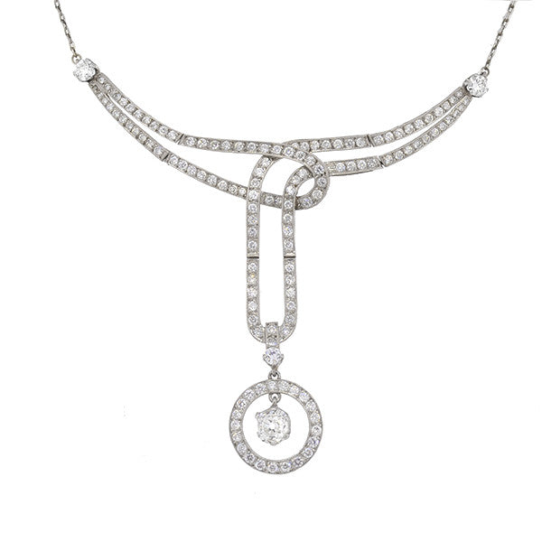 Edwardian Platinum & Diamond Necklace 3+ctw