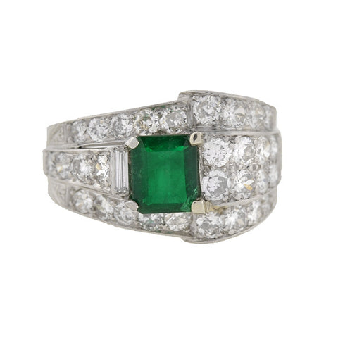 Retro Platinum Emerald & Diamond Cigar Band Ring .85ct Center