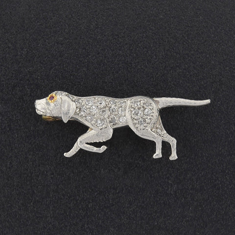 Art Deco Platinum & 14kt Diamond & Ruby Pointer Dog Pin