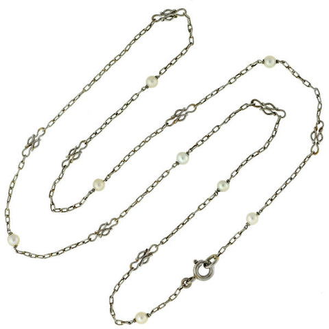 Edwardian Platinum Natural Seed Pearl Necklace 18.5""