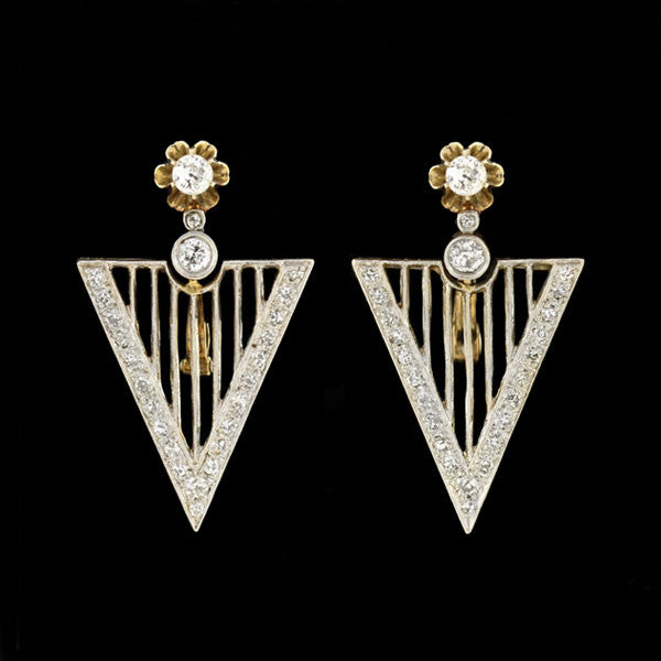 Art Deco Platinum Topped 14kt Diamond Earrings 1.40ctw