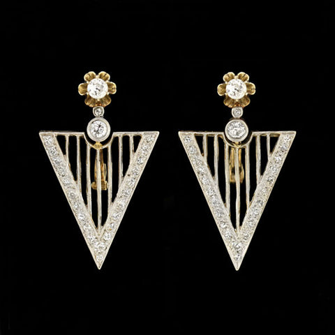Late Art Deco 14kt Gold & Natural Pearl Dangling Earrings