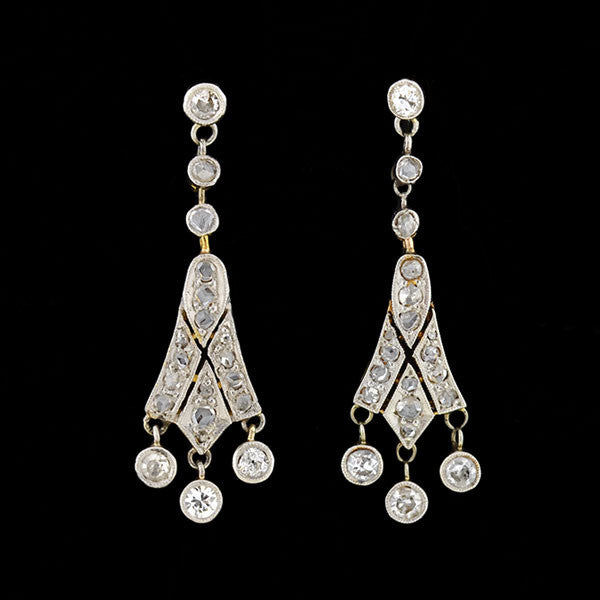 Edwardian Platinum/14kt Diamond Earrings
