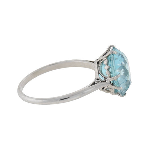 Art Deco Platinum Blue Zircon Ring 6ctw