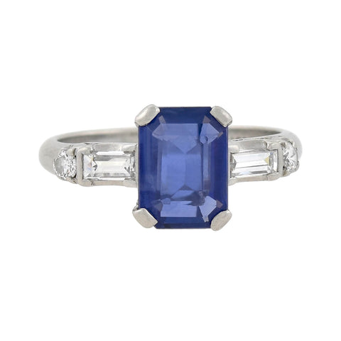 Art Deco Platinum Sapphire + Diamond Ring 1.82ct center