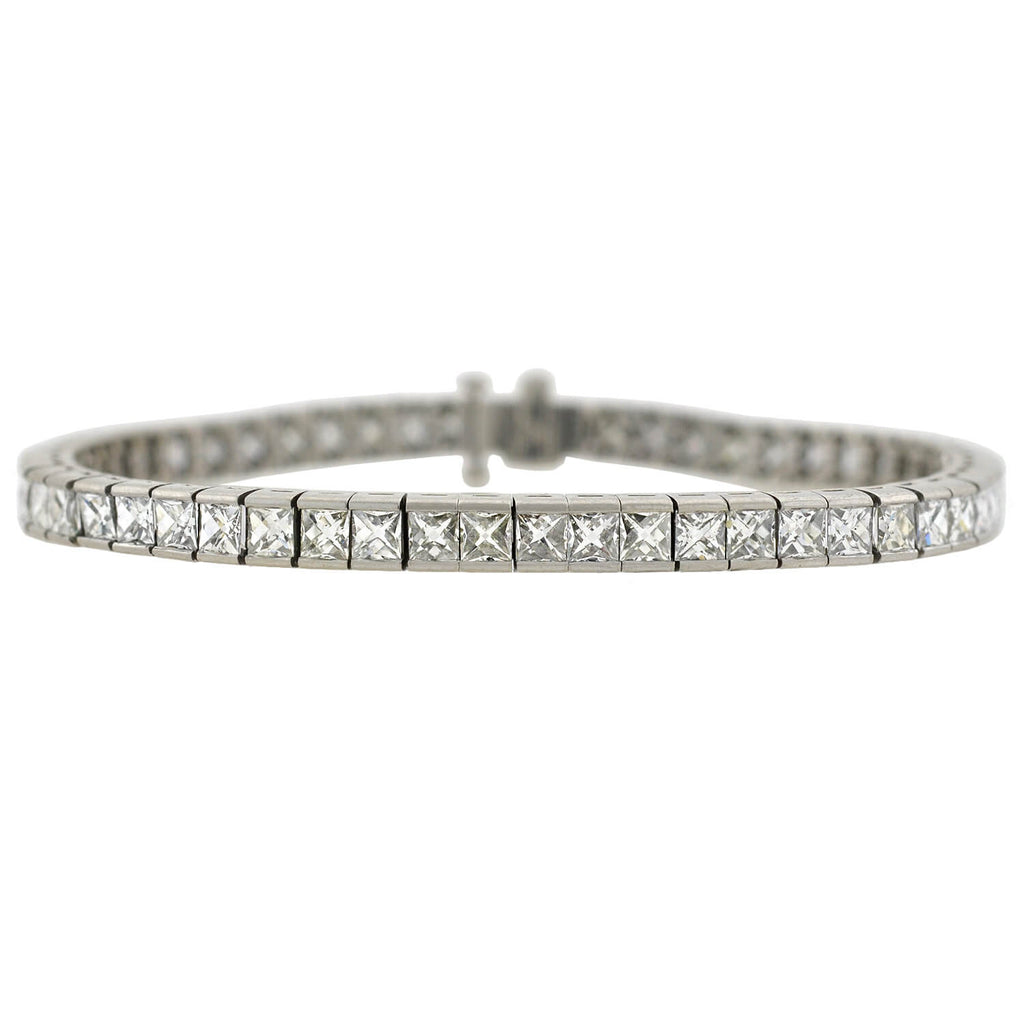 Estate Platinum French Cut Diamond Line Bracelet 11.60ctw
