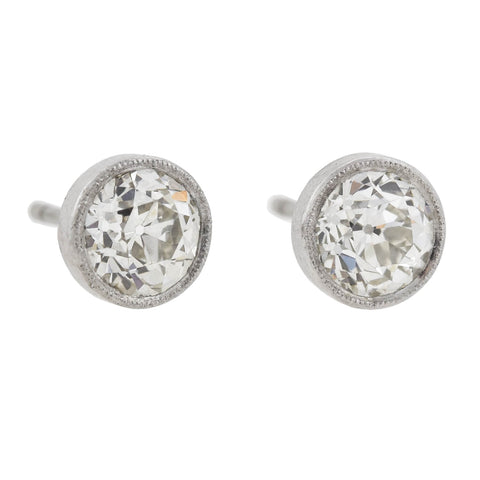 Late Art Deco Platinum Old European Cut Diamond Stud Earrings 2.26ctw