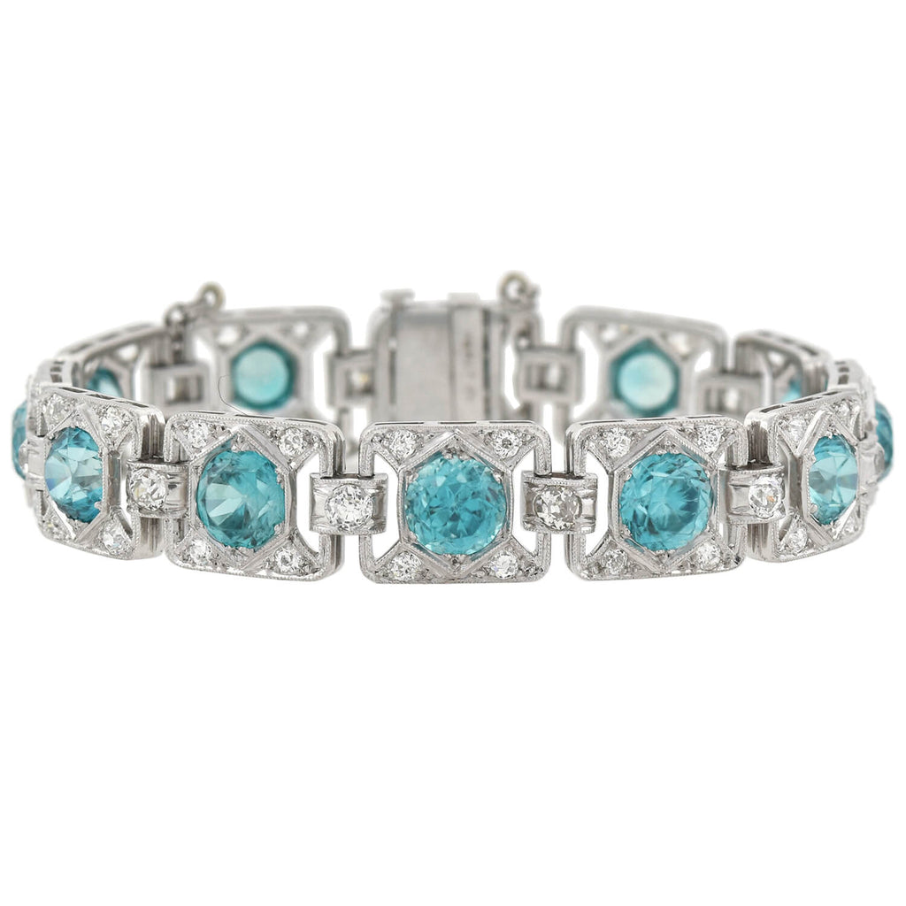 Art Deco Platinum 11ctw Blue Zircon + 1.50ctw Diamond Link Bracelet