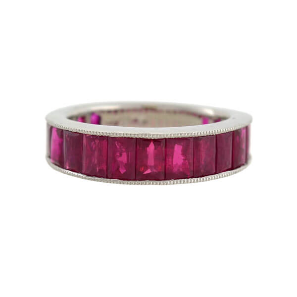 Estate Platinum Burmese Ruby Wide Eternity Band 5.50ctw