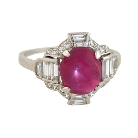 Late Art Deco Platinum Star Ruby Diamond Ring 4.20ct
