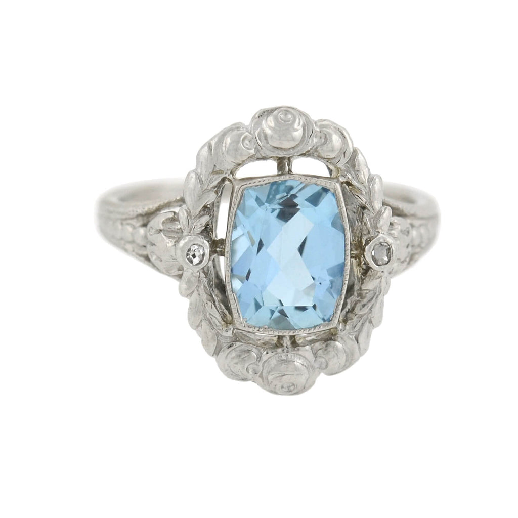 Late Art Deco Platinum Aquamarine Filigree Ring 2.00ct
