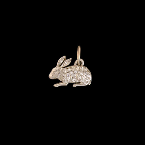 Late Art Deco Petite Platinum + Diamond Rabbit Charm