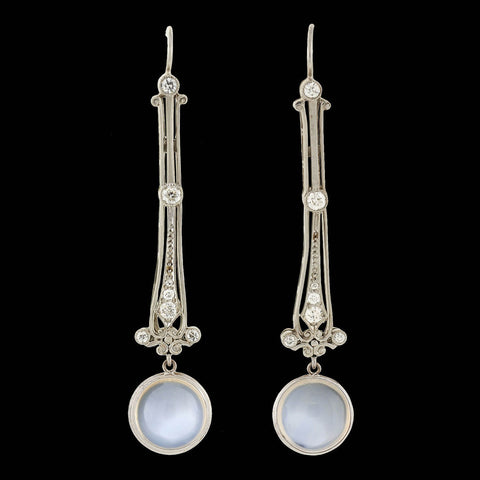 Edwardian Long Platinum Moonstone & Diamond Drop Earrings