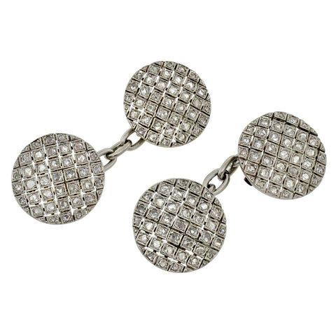 Edwardian Platinum & Rose Cut Diamond Cufflinks